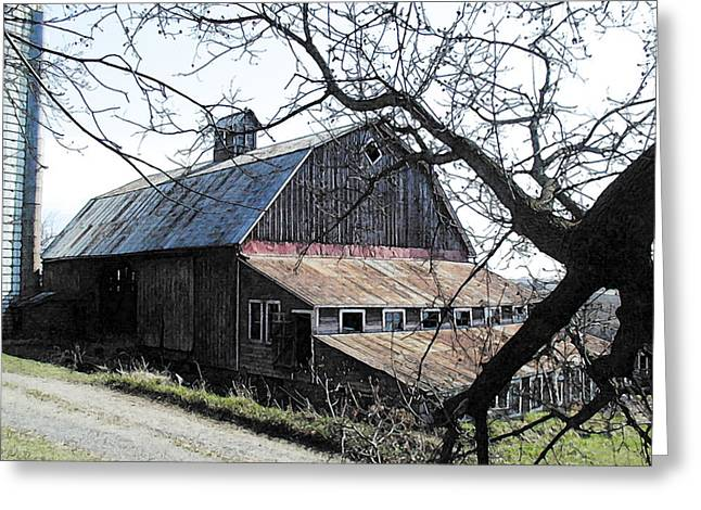 Old Barn With Tree Watercolor Greeting Card by Laurie With