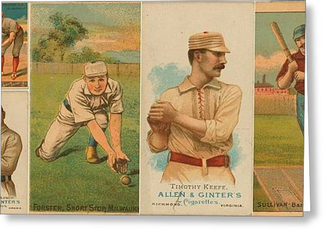 Baseball Art Photographs Greeting Cards - Old Baseball Cards Collage Greeting Card by Don Struke