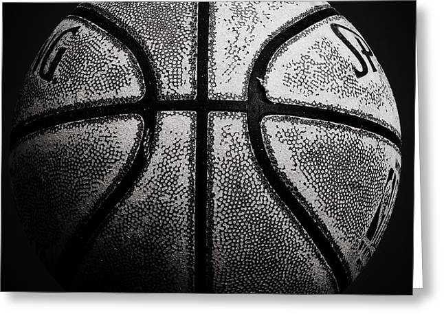 Old Basketball - Black And White Greeting Card by Ben Haslam