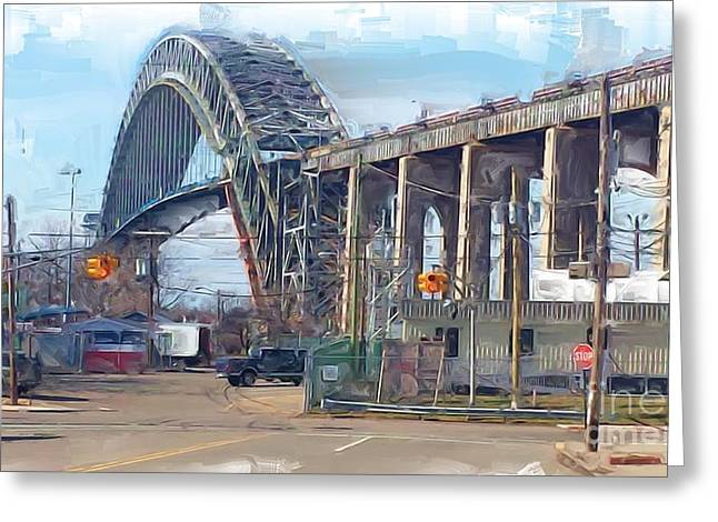 Old Bayonne Bridge Greeting Card by Rod Pena