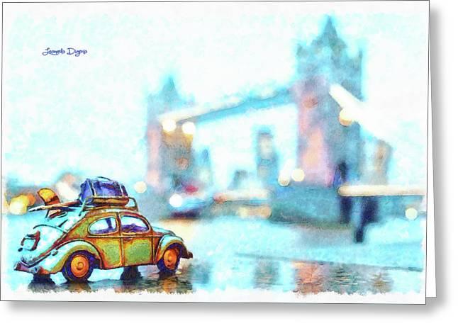 Old Beetle Visiting London Greeting Card