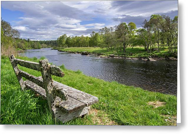 Old Bench Along Spey River, Scotland Greeting Card