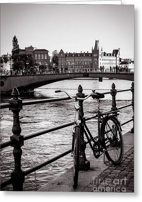 Old Bicycle In Central Stockholm Greeting Card