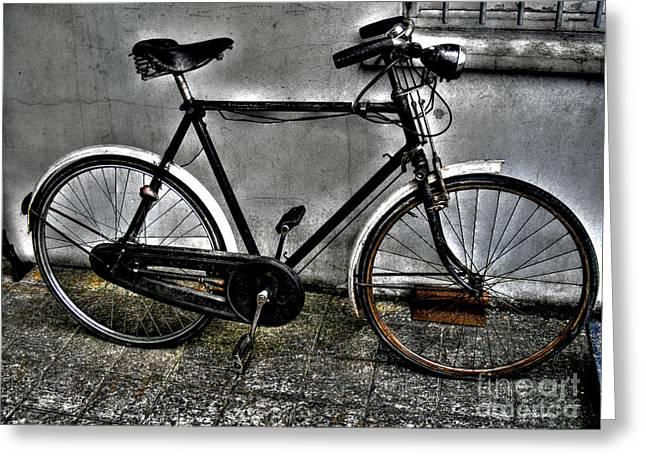 Old Bicycle Greeting Card by Nina Ficur Feenan