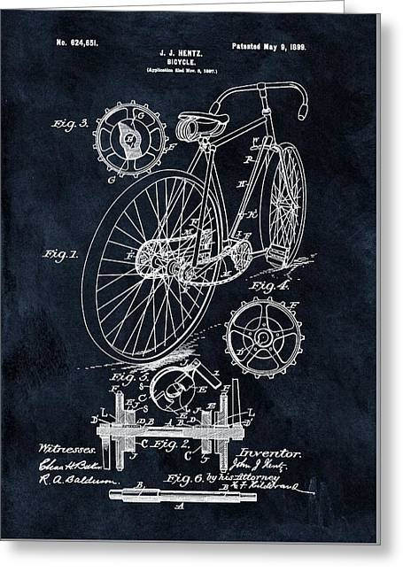 Old Bicycle Patent Illustration 1899 Greeting Card by Dan Sproul