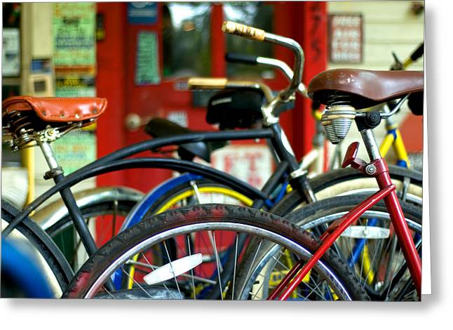 Old Bikes Greeting Card by John Gusky
