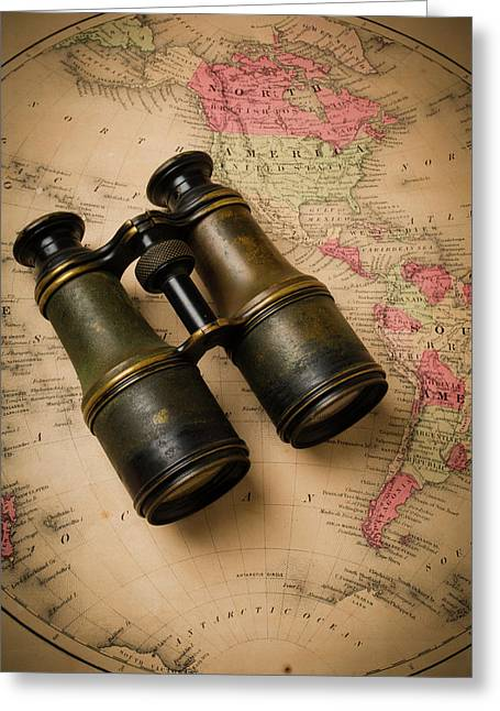 Old Binoculars On Antique Map Greeting Card by Garry Gay