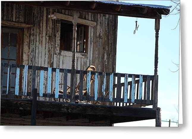 Old Blue Balcony Greeting Card