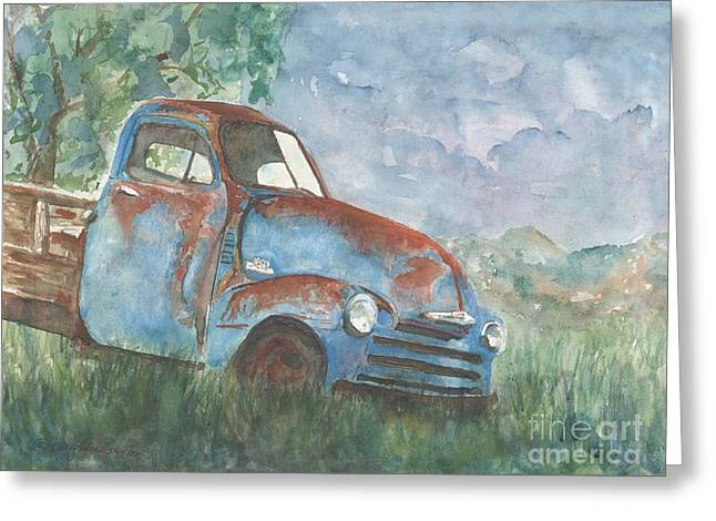 Old Blue Chevrolet In The Summertime Watercolor Greeting Card by CheyAnne Sexton