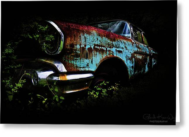 Greeting Card featuring the photograph Old Blue Chevy by Glenda Wright