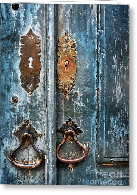 Old Blue Door Greeting Card by Carlos Caetano