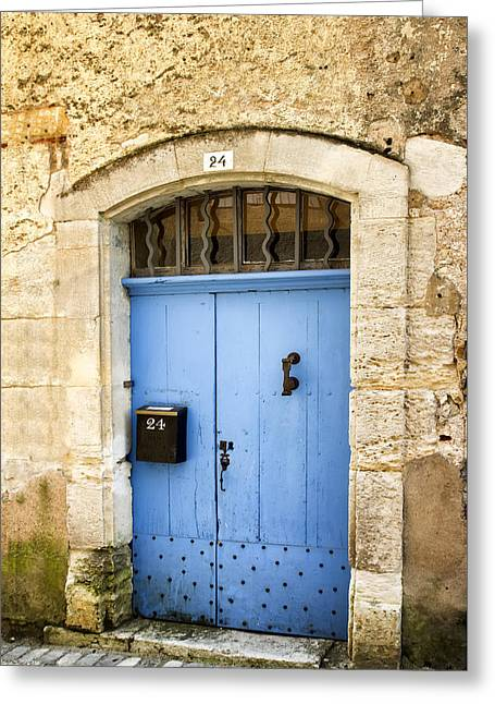 Old Blue Door - France Greeting Card by Georgia Fowler