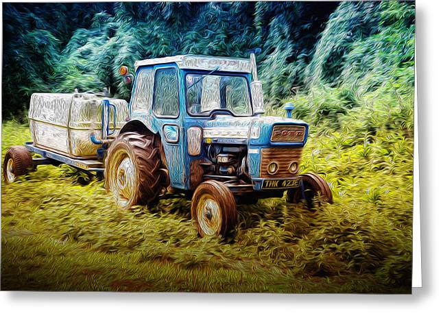 Old Blue Ford Tractor Greeting Card
