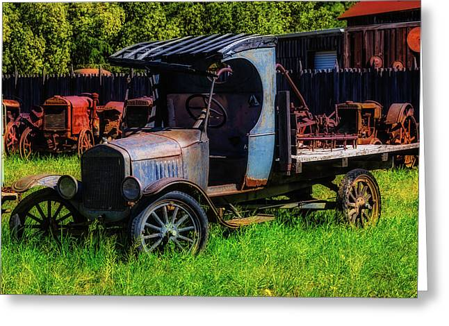 Old Blue Ford Truck Greeting Card by Garry Gay