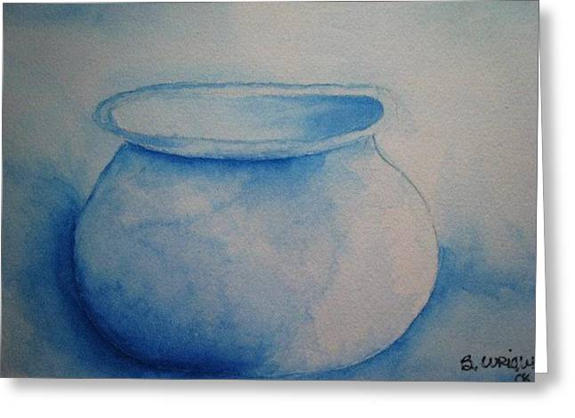 Old Blue Pot Greeting Card by Bonnie Wright