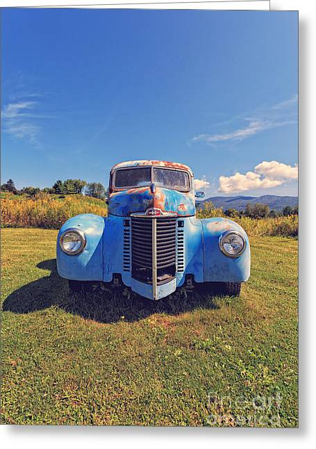 Old Blue Truck Vermont Greeting Card