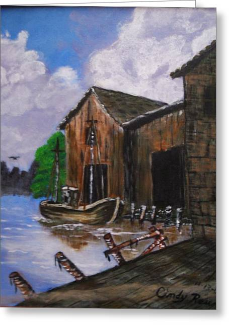 Old Boat At Dock Greeting Card by Cynthia Farmer