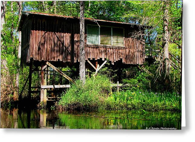 Old Boat House Greeting Card by Barbara Bowen