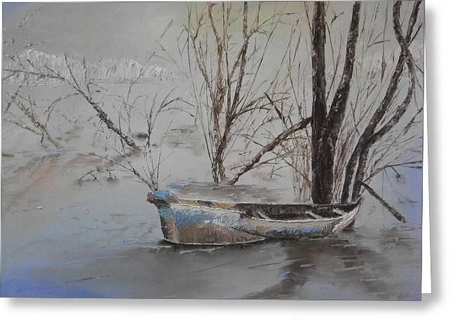 Old Boat Greeting Card by Maria Woithofer
