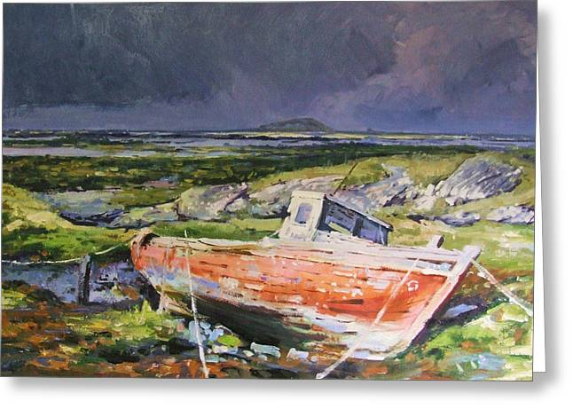 Old Boat On Shore Greeting Card by Conor McGuire
