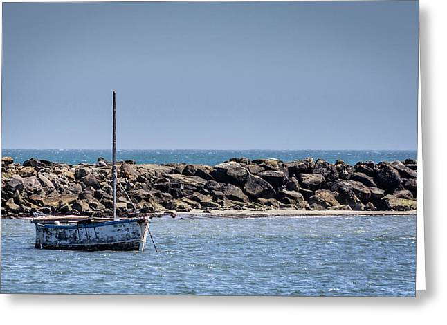 Old Boat - Half Moon Bay Greeting Card