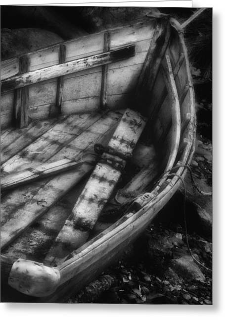 Old Boat Stonington Maine Black And White Greeting Card