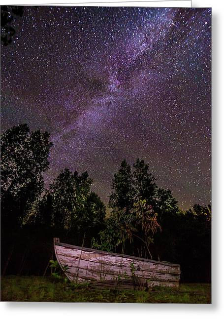 Old Boat Under The Stars Greeting Card