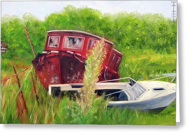 old boats in Belford Greeting Card by Leonardo Ruggieri