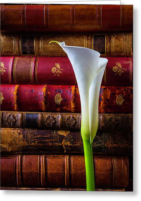 Old Books And Calla Lily Greeting Card by Garry Gay