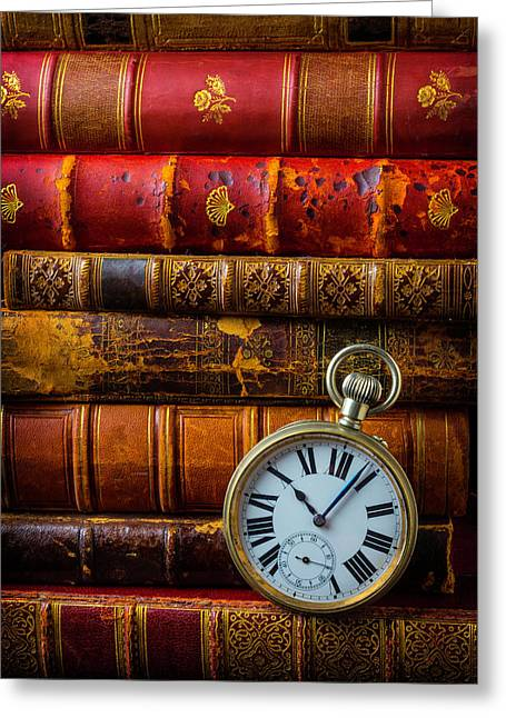 Old Books And Pocket Watch Greeting Card