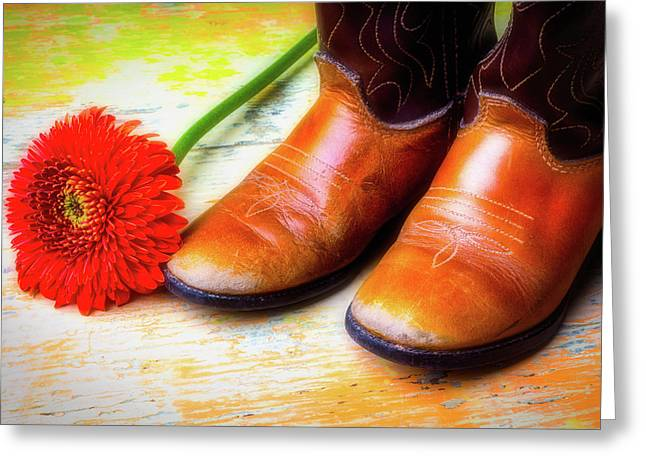 Old Boots And Daisy Greeting Card by Garry Gay