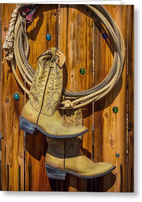 Old Boots And Rope On Fence Greeting Card by Garry Gay