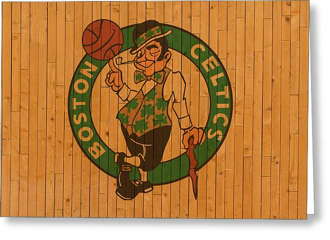 Old Boston Celtics Basketball Gym Floor Greeting Card