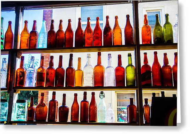 Old Bottles In Window Greeting Card by Garry Gay