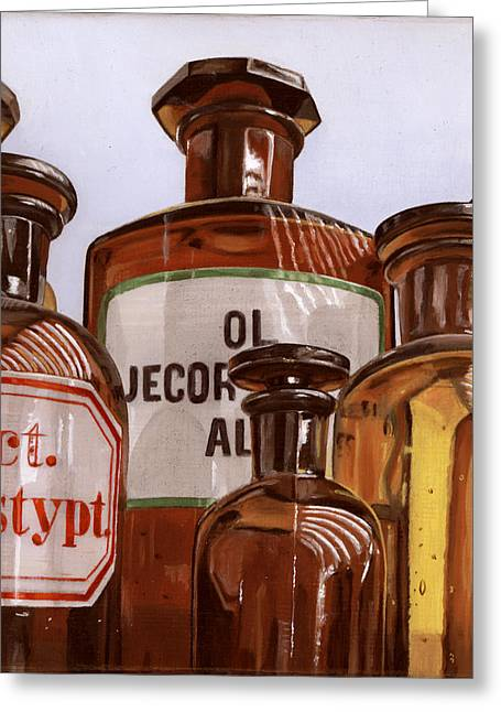 Photorealism Greeting Cards - Old Bottles Greeting Card by Rob De Vries