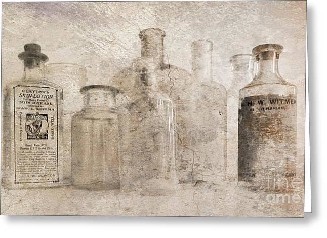 Old Bottles With Texture Greeting Card