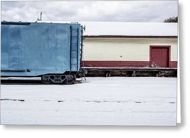 Old Box Car At A Freight Station Greeting Card