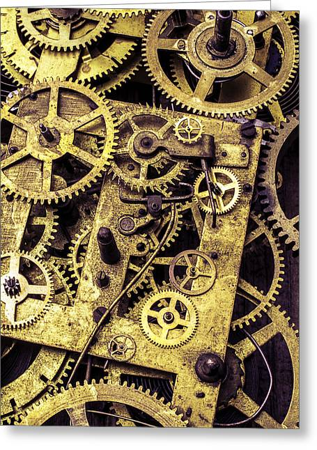 Old Brass Gears Close Up Greeting Card