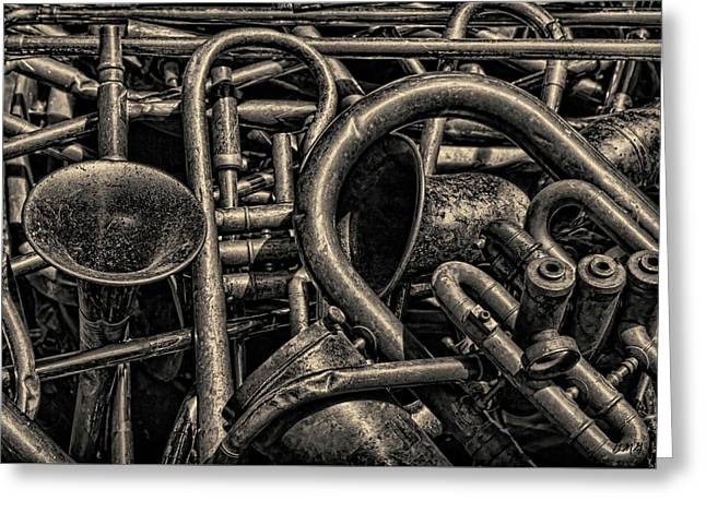 Old Brass Musical Instruments Toned Greeting Card