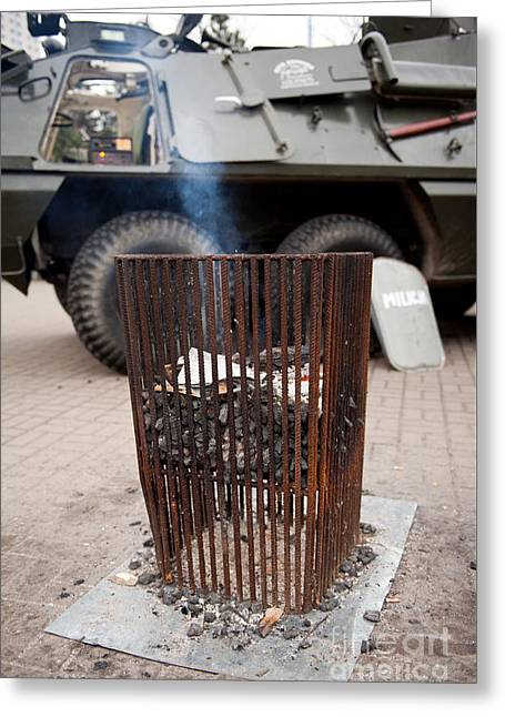 Old Brazier At 32nd Anniversary Greeting Card by Arletta Cwalina