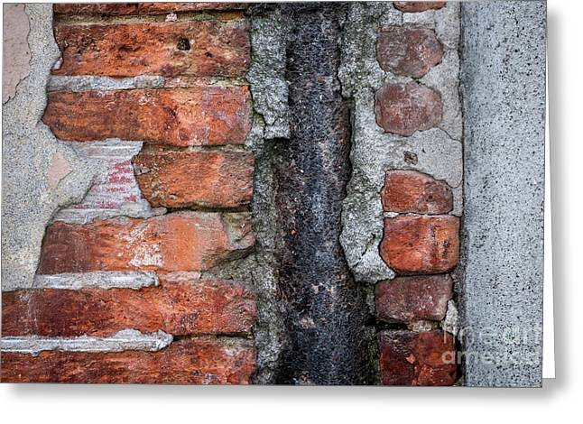 Old Brick Wall Abstract Greeting Card by Elena Elisseeva