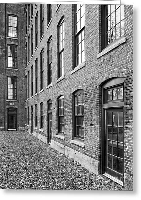 Old Brick Warehouse Black And White Greeting Card by Edward Fielding