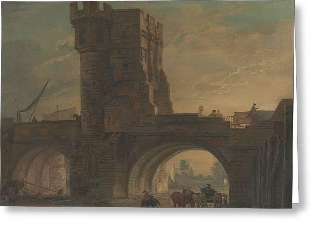 Old Bridge At Shrewsbury Greeting Card by Paul Sandby