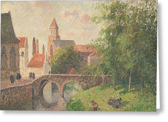 Vernacular Architecture Greeting Cards - Old Bridge in Bruges  Greeting Card by Camille Pissarro