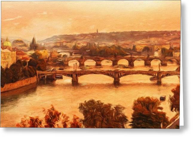 Old Bridges Of Prague Greeting Card