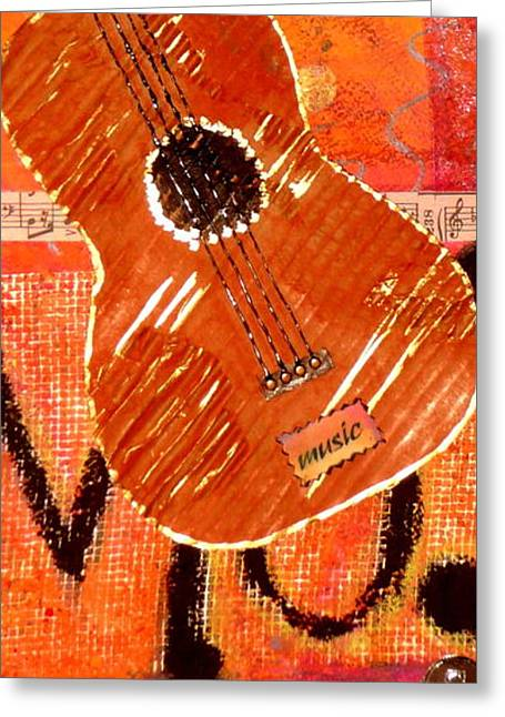 Old Brown Guitar Greeting Card