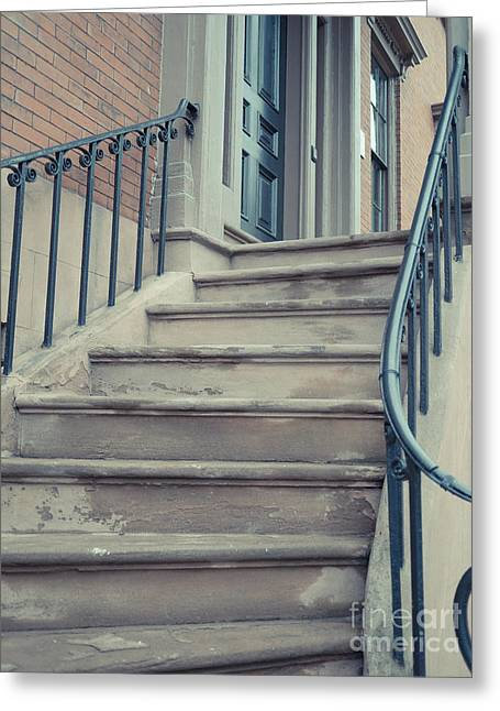 Old Brownstone Staircase Greeting Card by Edward Fielding