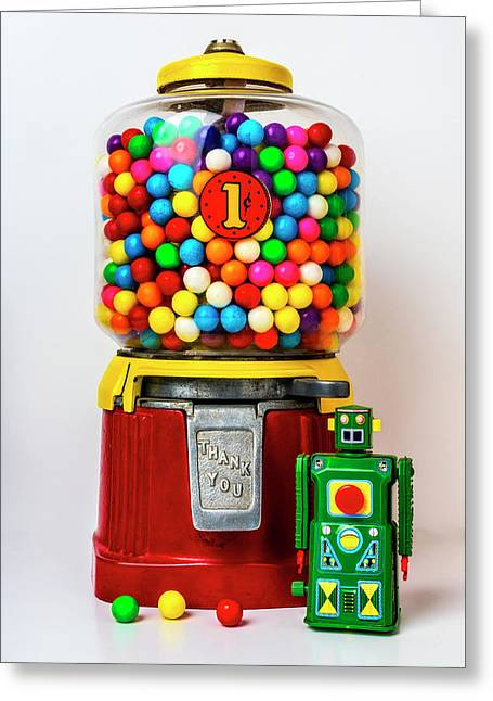 Old Bubblegum Machine And Green Robot Greeting Card