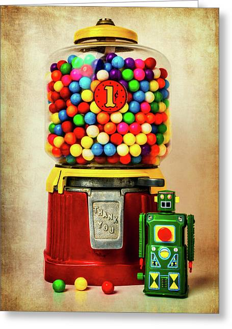 Old Bubblegum Machine And Robot Greeting Card