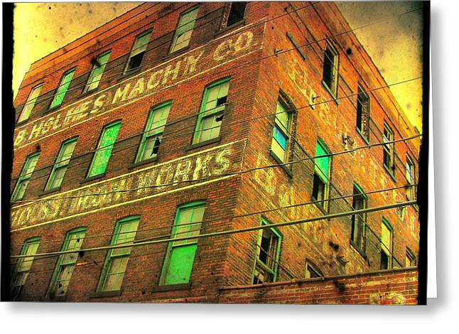 Old Empty Building In Retro Colors Greeting Card